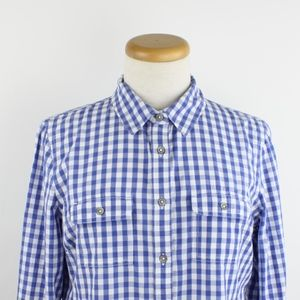 Cherokee Blue Gingham Button Down Shirt, Size 10 M
